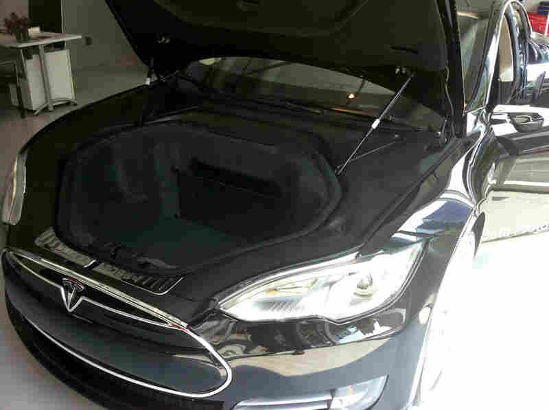 The front trunk of the Tesla Model S sedan provides 8.1 cubic feet of space.