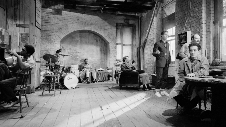 The set of The Connection with much of its cast. The film included a four-piece jazz band, assembled by pianist Freddie Redd, playing and soloing throughout. (Milestone Film)