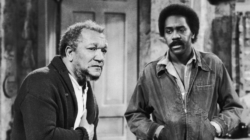 Redd Foxx (left) and Demond Wilson played the titular father-son duo in the TV show Sanford and Son, a Lear production that ran from 1972 to 1977. (Getty Images)