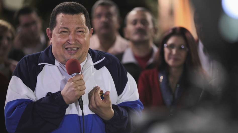 Venezuelan President Hugo Chavez, seen talking to the media in Caracas on June 19, says he will win October's election with more than 60 percent of the vote after a poll showed he held a large lead over his opposition rival Henrique Capriles. (Reuters /Landov)