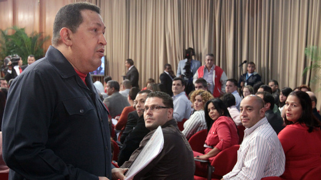 Venezuelan President Hugo Chavez, seen speaking during a TV program in Caracas on June 15, will compete with former opposition governor Henrique Capriles and other candidates in October's presidential elections. (AFP/Getty Images)