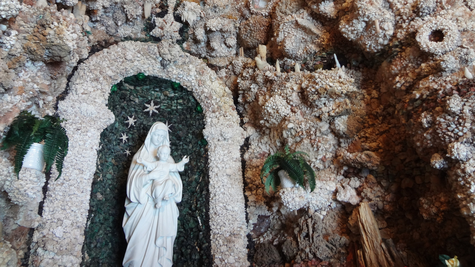 After he contracted pneumonia, Dobberstein — a priest, a geologist and artist — vowed he would build a shrine to the Virgin Mary if he survived. The Grotto of the Redemption is that shrine. (Sandhya Dirks for NPR)