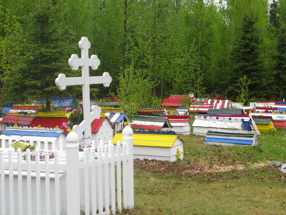 A plot in the Eklutna Cemetery features a traditional three-barred Russian Orthodox cross. (Diana Derby)