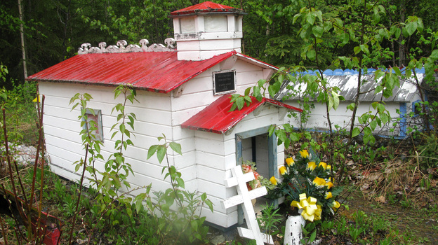 A spirit house in the Eklutna Cemetery in Alaska. (Diana Derby)