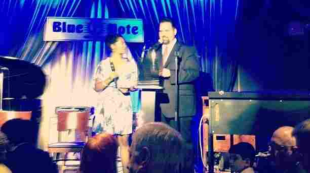 WBGO's Josh Jackson and freelance journalist Angelika Beener present at the JJA Jazz Awards, as captured by a smartphone.