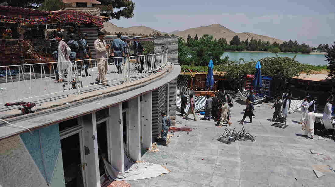 A general view of the Spozhmai Hotel following an attack by Taliban militants on the outskirts of Kabul on Friday.