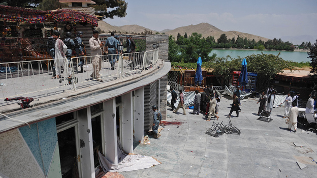 A general view of the Spozhmai Hotel following an attack by Taliban militants on the outskirts of Kabul on Friday. (AFP/Getty Images)