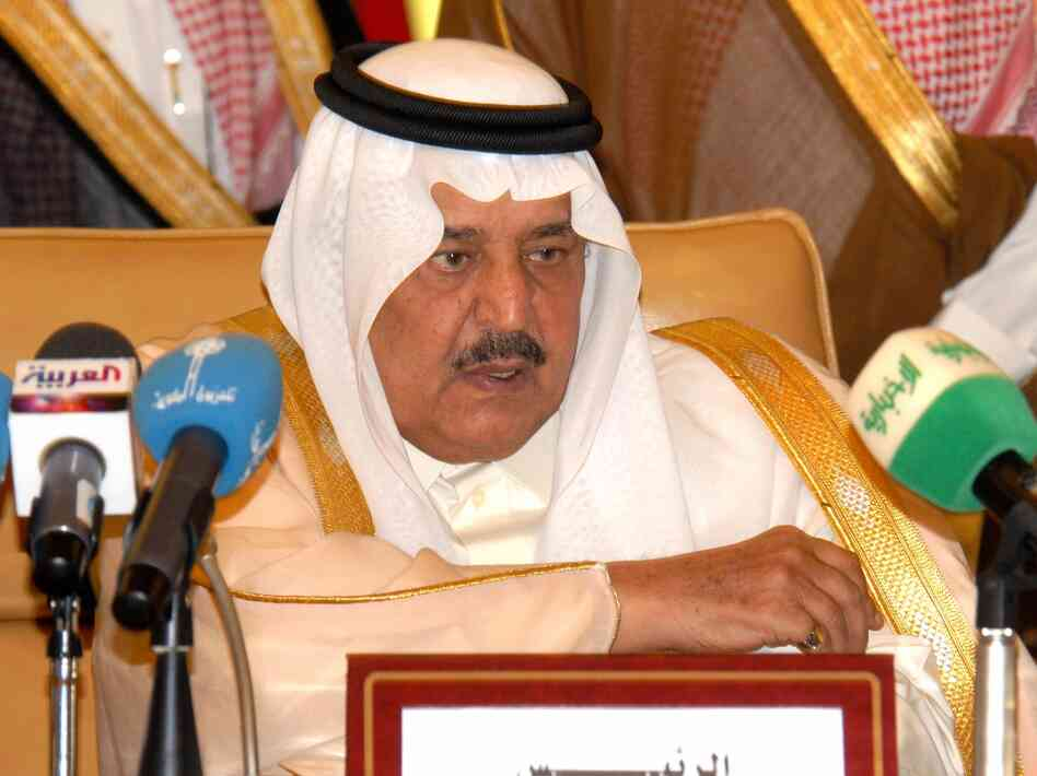 Saudi Interior Minister Prince Nayef bin Abdulaziz al-Saud chairs a session as Gulf Cooperation Council Interior ministers and their delegations meet in Riyadh, on May 20, 2007. Nayef had been next in line for the Saudi crown before his death on June 16.
