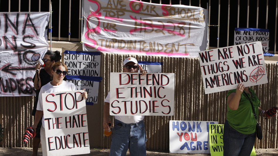 Protesters are seen in June 2011 in support of the Tucson Unified School District's Mexican-American studies program. A new state law effectively ended the program saying it was divisive. (AP)