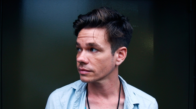 Nate Ruess before fun.'s show at Music Hall of Williamsburg in Brooklyn on Friday. (NPR)