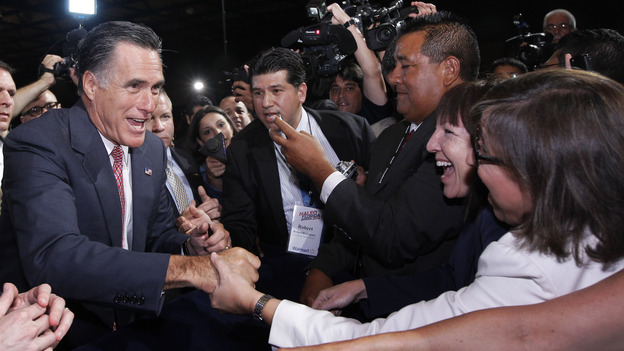 Republican presidential candidate Mitt Romney greets attendees at the conference of the National Association of Latino Elected and Appointed Officials in Orlando, Fla., on June 21. The presumptive GOP nominee took knocks from congressional Republicans during the party's presidential primaries. (AP)