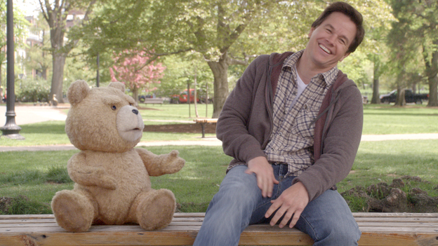 Ted (voiced by writer-director Seth MacFarlane) and Johnny (Mark Wahlberg) share a laugh in Ted. The talking teddy bear got his powers when 8-year-old Johnny wished upon a falling star for Ted to speak. (Universal Pictures/Tippett Studio)