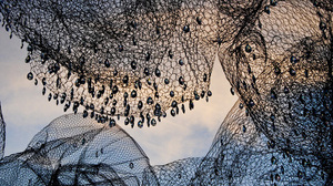 The installation, on display in Georgetown's historic Dumbarton Oaks Gardens, combines the luxurious (crystals) with the mundane (chicken wire).