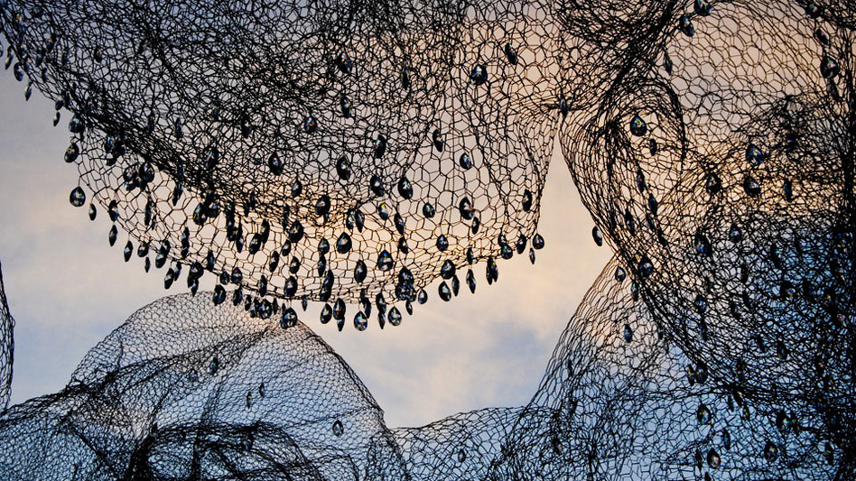 The installation, on display in Georgetown's historic Dumbarton Oaks Gardens, combines the luxurious (crystals) with the mundane (chicken wire). (Courtesy of Cao | Perrot Studio)