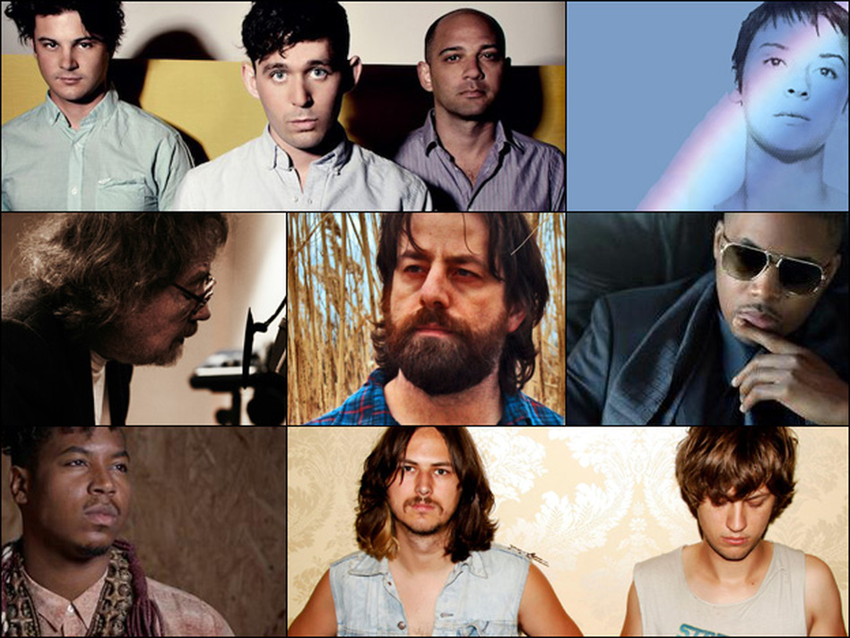 Top row (left to right): The Antlers, Cat Power; Middle row: Bill Fay, Sean Rowe, Nas; Bottom row: Christian Scott, JEFF The Brotherhood