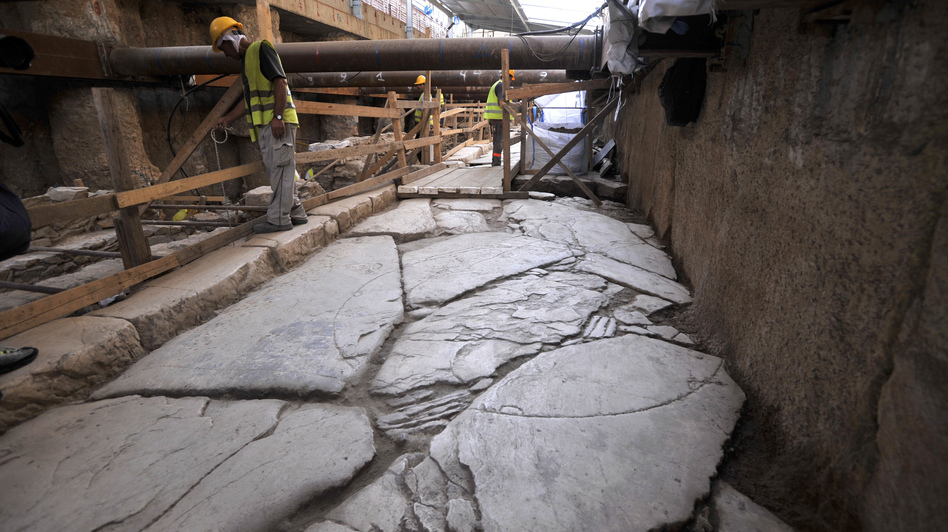 Officials unveiled an ancient road found during construction of Thessaloniki's new subway system Monday. (AP)