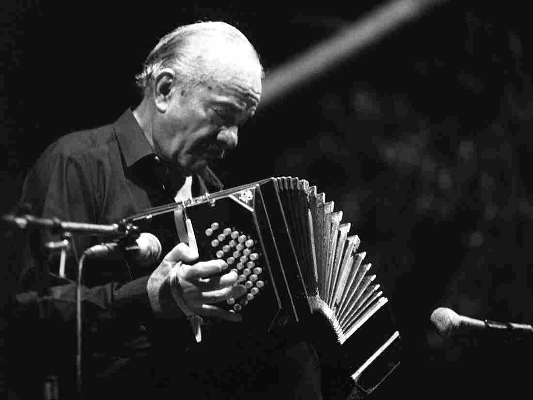 Argentine composer Astor Piazzolla performs in France in July 1986.