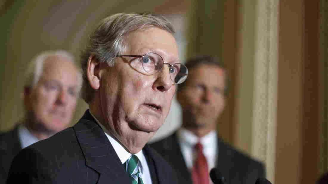 Senate Minority Leader Mitch McConnell, R-Ky., speaks to reporters Tuesday on Capitol Hill.