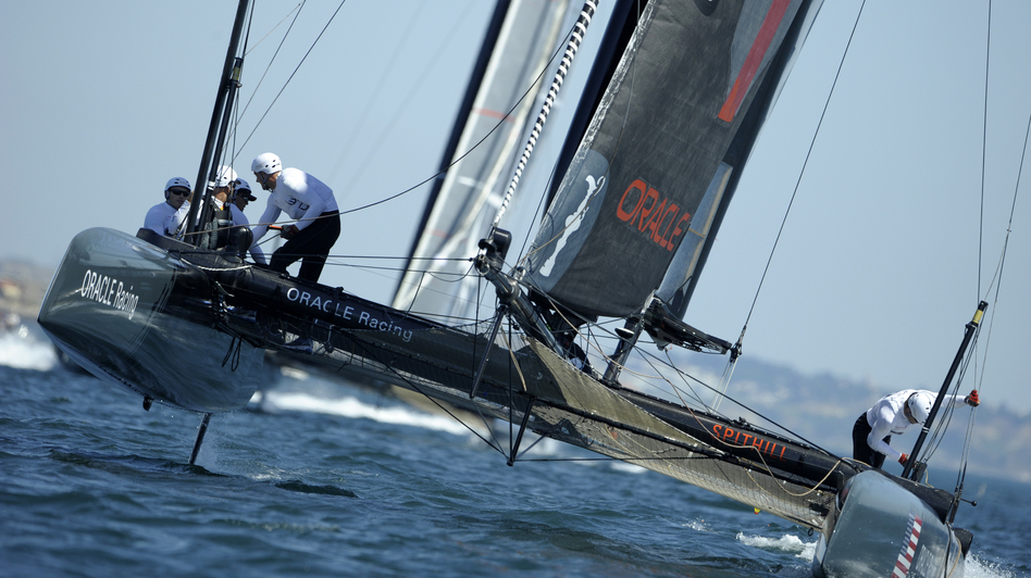 The Oracle Racing AC45 catamaran skipped by James Spithill competes in the America's Cup World Series in Cascais, Portugal in August 2011. The Oracle Team USA sailors are also competing in the final leg of this year's regatta in Newport, R.I. (AFP/Getty Images)