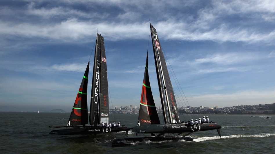 The Oracle Racing AC45 catamarans practice in the San Francisco Bay in February. The AC45 is a smaller version of the AC72, which teams will race in next year's America's Cup Finals in 2013. (Getty Images)