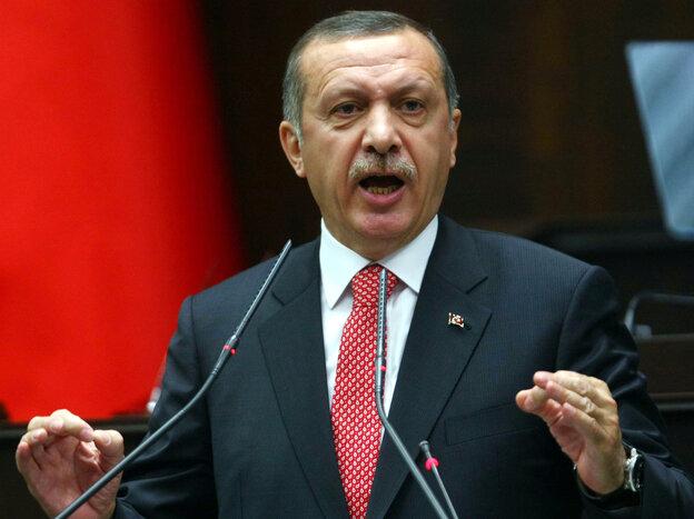 Turkish Prime Minister Recep Tayyip Erdogan earlier today in Ankara.