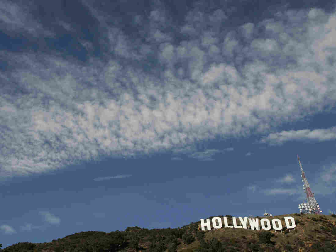 HOLLYWOOD, CA - DECEMBER 5: The newly refurbished Hollywood Sign is seen atop of Mt. Lee