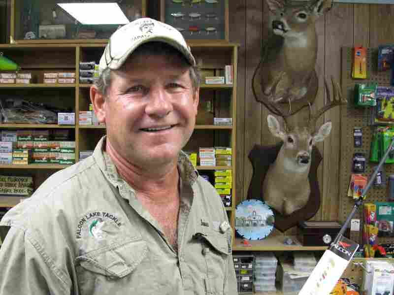James Bendele runs the Falcon Lake Tackle Shop in Zapata, Texas. Bass fishermen flock to the lake, despite the presence of a Mexican drug cartel.