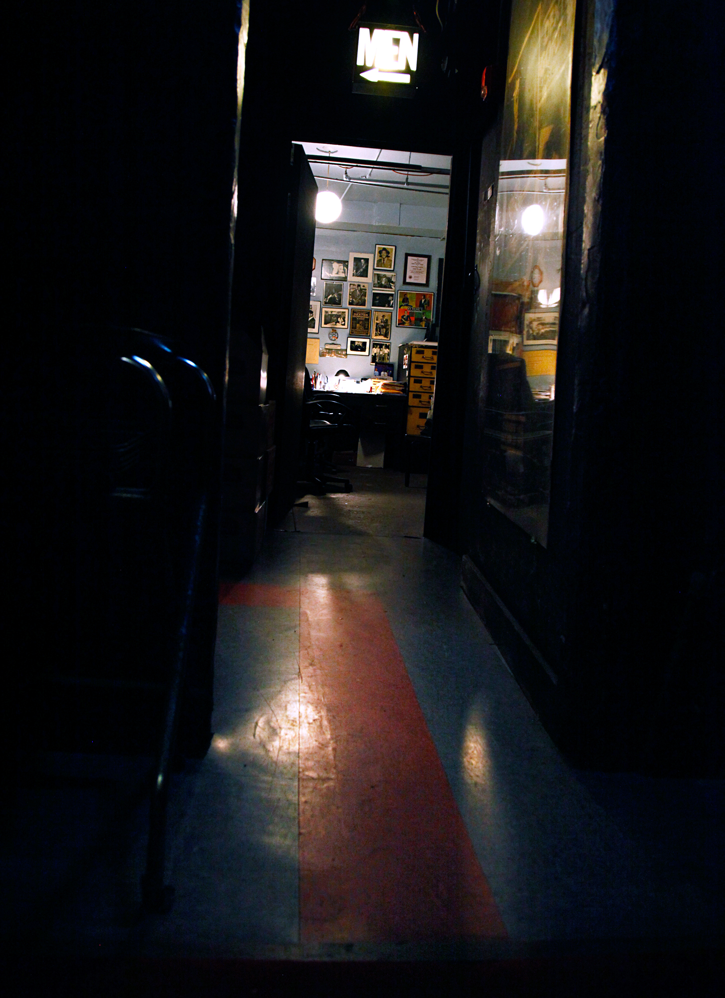 The clearly marked but winding trail to the men's room was immortalized in the title of Chris Potter's album Follow the Red Line, recorded live at the club and released in 2007. Along the way, it snakes past the Vanguard's famed kitchen, which now doubles as both office and green room.
