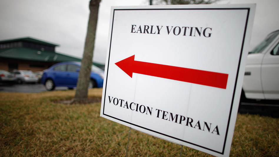 A sign lets voters know they can cast early ballots for the Florida primary election in January at the South Creek Branch Library in Orlando. (Getty Images)