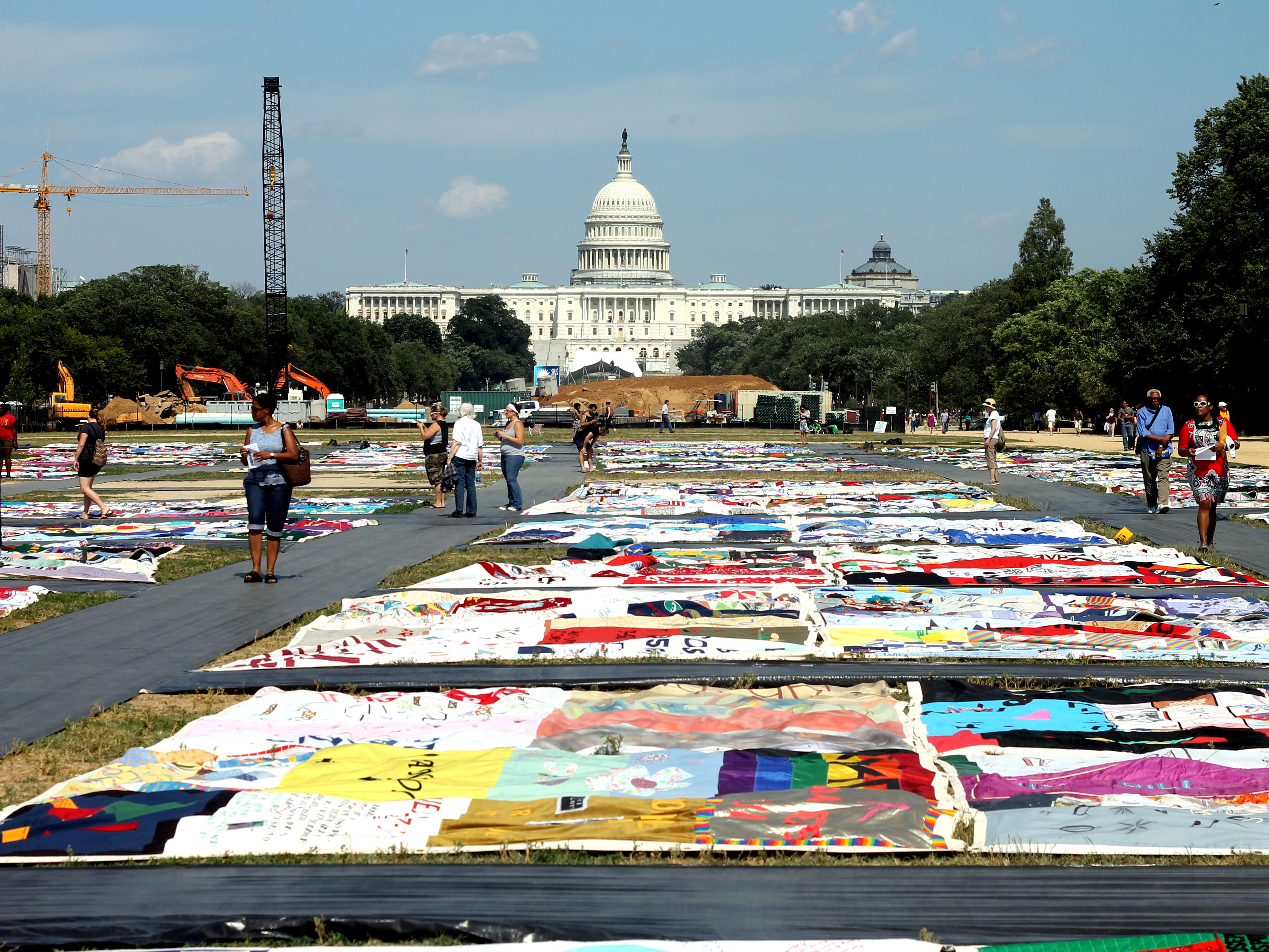 People view the AIDS Memorial Quilt at the National Mall this week.