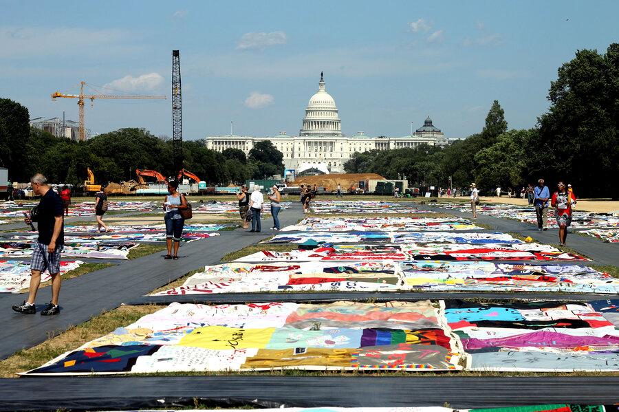 Pieces Of AIDS Quilt Blanket Nation's Capital : NPR : memorial quilt aids - Adamdwight.com