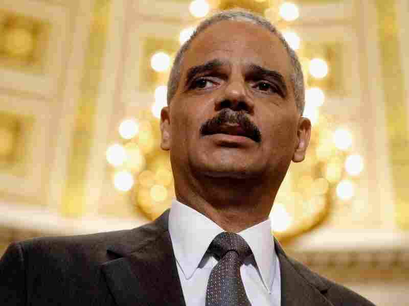 Attorney General Eric Holder talks to reporters after meeting with House Oversight and Government Reform Committee Chairman Darrell Issa in the U.S. Capitol on June 19. Issa's committee voted along party lines last week to hold Mr. Holder in contempt, and a full vote of the House on the matter is expected Thursday.