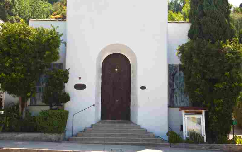 """All things considered, my favorite place in L.A. Architecturally it's pretty simple, like a humble little mission chapel. ... [It's] currently an L.A. outpost of the international theosophical society ... and in its past it was ... a directors club where Orson Welles staged plays [and] a little lecture hall where Carl Jung and Aldous Huxley spoke."""
