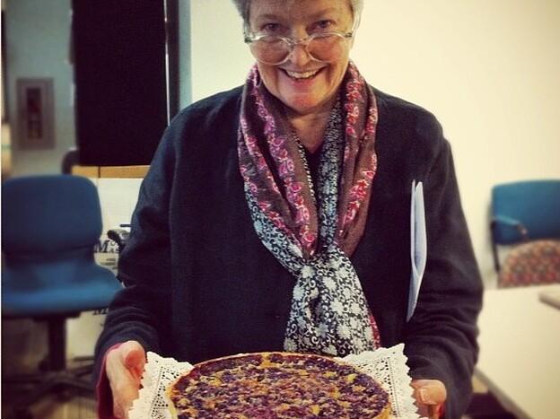 Linda Wertheimer shows off her chess pie with blueberries at the NPR headquarters pie contest. (NPR)