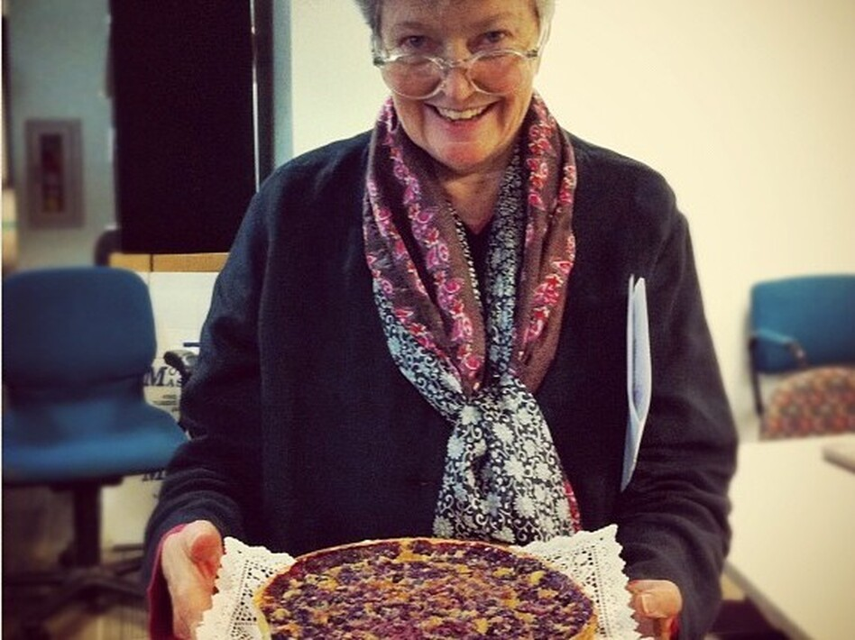 Linda Wertheimer shows off her chess pie with blueberries at the NPR headquarters pie contest. (NPR)