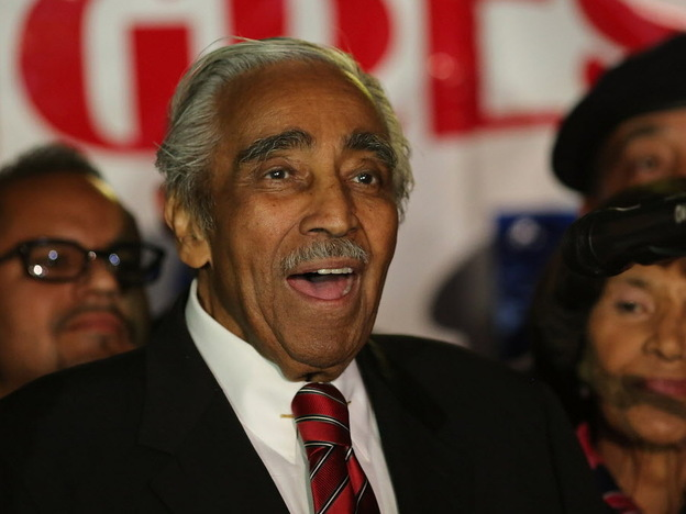 Rep. Charles Rangel, D-N.Y., at his victory party Tuesday night.