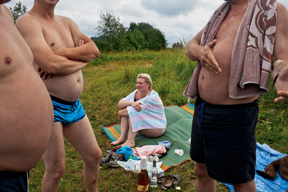 Barrel-bellied bathers, picnicking near the Dubna River, are as much a part of the summer scenery as grilled meat and beer.