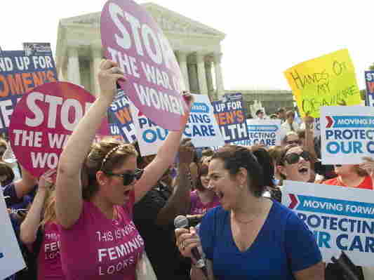Supporters of President Obama's health care legislation celebrated outside after hearing that the Supreme Court upheld the constitutionality of the Affordable Care Act.
