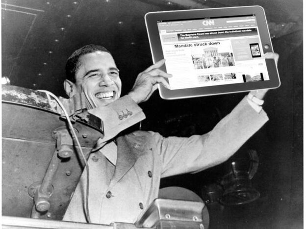 A Photoshopped alteration of the iconic Harry Truman photo. Tweeted by Gary He.