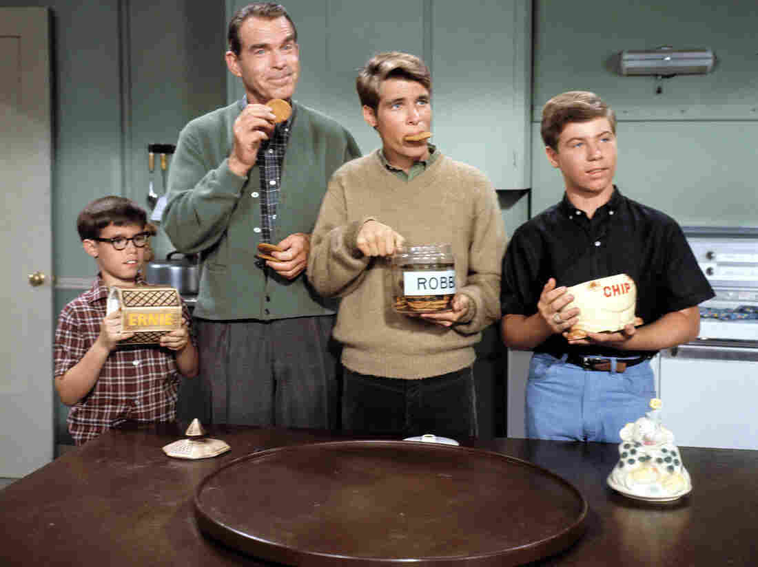 "Don Grady (second from right) as ""Robbie Douglas,"" with (at far left) Barry Livingson as ""Ernie,"" Fred MacMurray as ""Steve Douglas"" the dad, and Stanley Livingston as ""Chip."""