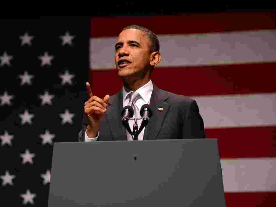 President Barack Obama speaks at Obama Victory Fund concert in Miami, Fla., on June 26. Obama hit the campaign trail this week, shadowed by a week of fateful events at home and abroad weighing heavily on his hopes of re-election.