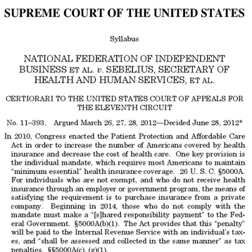 Image of the Supreme Court's health care ruling.