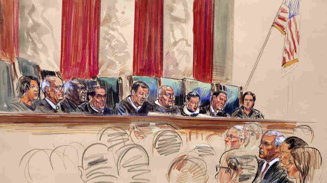 This artist's rendering shows Chief Justice John Roberts (center) speaking at the Supreme Court on Thursday. From left are Justices Sonia Sotomayor, Stephen Breyer, Clarence Thomas, Antonin Scalia, Roberts, Anthony Kennedy, Ruth Bader Ginsburg, Samuel Alito and Elena Kagan. The court voted 5-4 to uphold President Obama's health care law.