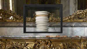 De Waal's 2012 work all and more is on display in the Dining Room. It is made up of 23 porcelain dishes: 22 in white and cream glazes and one gilded dish, contained in a clear glass vitrine.