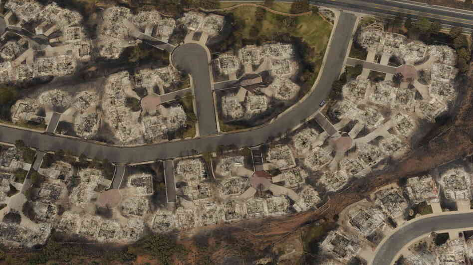 This aerial photo taken Thursday shows the destructive path of the Waldo Canyon fire in the Mountain Shadows subdivision area of Colorado Springs, Colo.