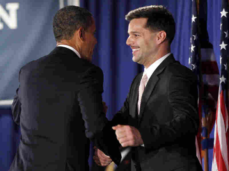 President Obama is introduced by singer Ricky Martin at a fundraiser hosted by Martin and the LGBT Leadership Council at the Rubin Museum of Art on May 14 in New York.