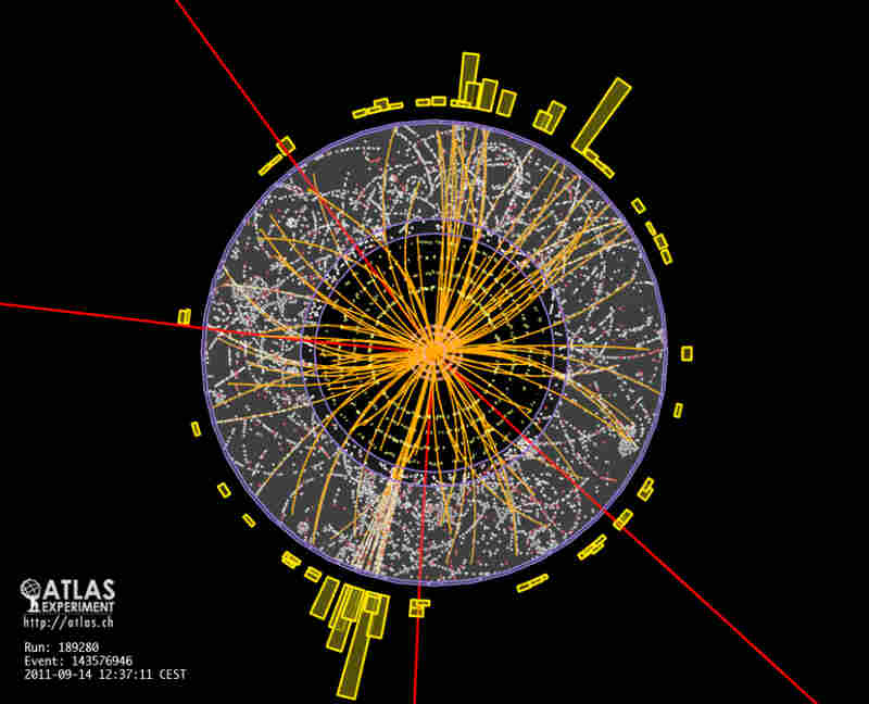 This image, from a sensor at the particle accelerator at CERN, is an example of the data signature a Higgs particle might generate.
