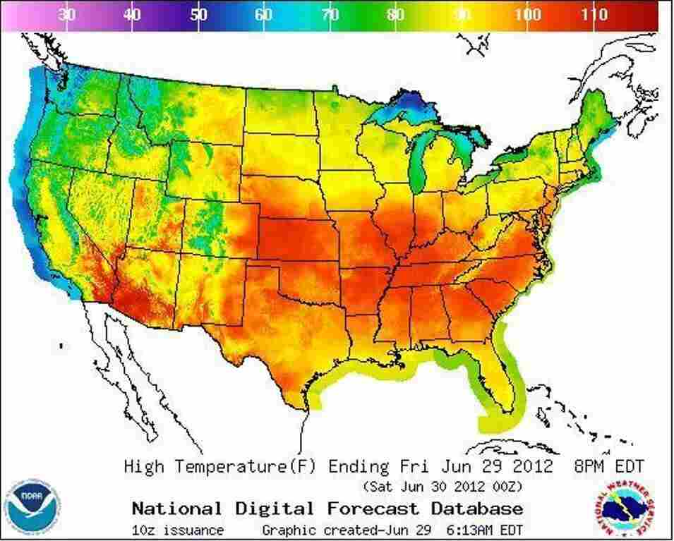 Today's forecast. The redder it is, the hotter it will be.