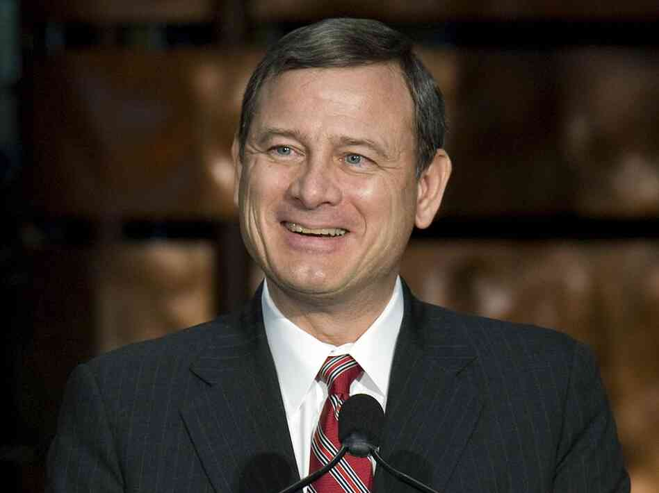 Supreme Court Chief Justice John Roberts participates in the installation ceremony of the 12th Secretary of the Smithsonian Institute on January 26, 2009. Yesterday, Roberts joined with the left of the court to uphold President Obama's health care law.