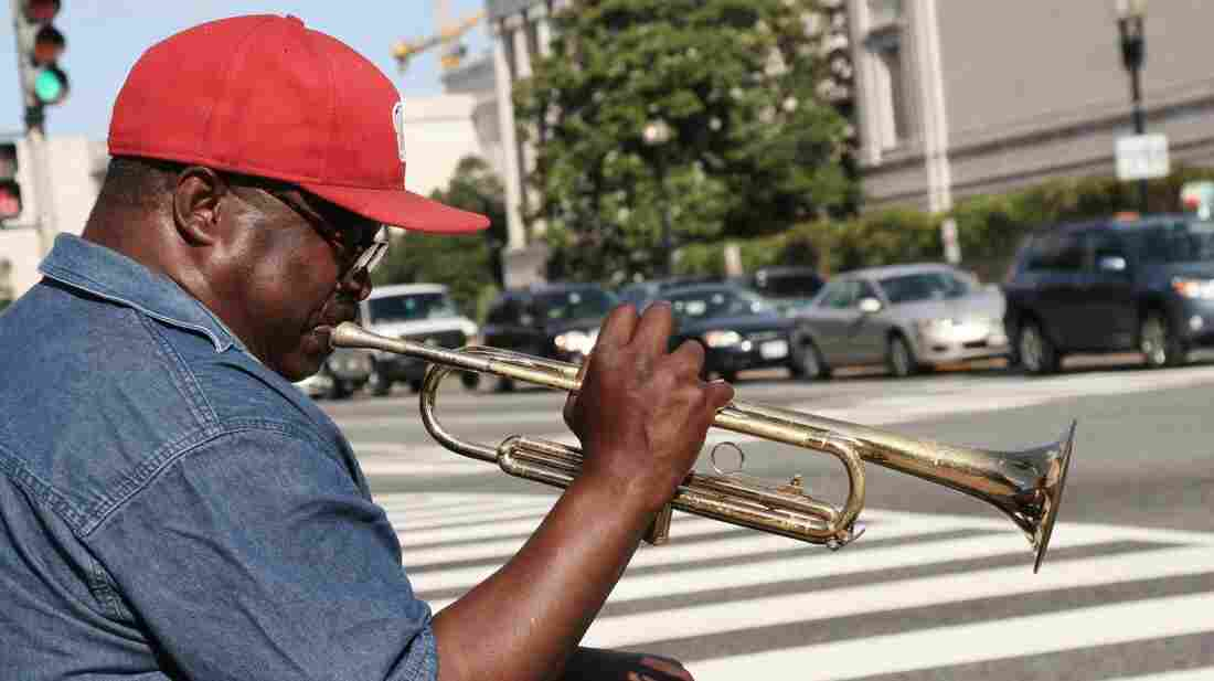Trumpeter John Thornton plays at the corner of 7th Street and Constitution Avenue in Washington, D.C., just a few blocks from NPR's headquarters.